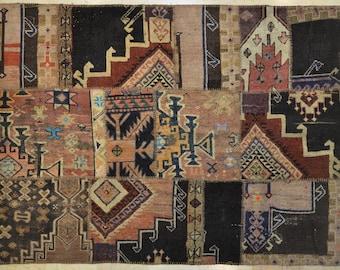 Multicolor Brown Black Tribal Rug Patchwork Vintage 5' x 6.5'
