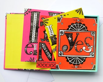 Card Collection, Thank You Card, Hello, Love, Box of Note Cards
