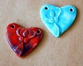 Ceramic Goddess - Spirit Goddess in a  Heart Pendant Bead - Handmade Stoneware Goddess - Blessingway bead - Blessingway Gift - Blue, Aqua,