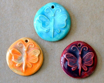 3 Handmade Ceramic Butterfly Beads - Sweet focal beads for Spring and Summer
