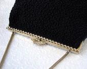 Vintage 40's Jet Black Micro Beaded Purse Rhinestone Clasp Intricate Gold Design Frame Formal Evening Bag Glass Bead Handbag French Belgian