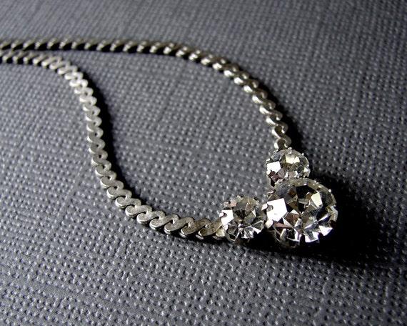 Rhinestone Necklace 16 Inch Princess Length Silver Tone Chain Bohemian Chic Vintage Jewelry 1980s Retro Wedding Bridal Prom Pageant Ballroom