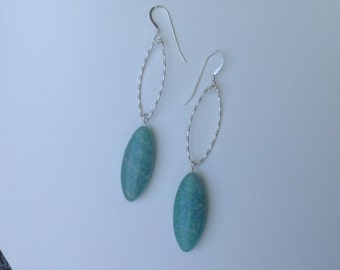 Amazonite Sterling Silver hammered oval hoops Earrings