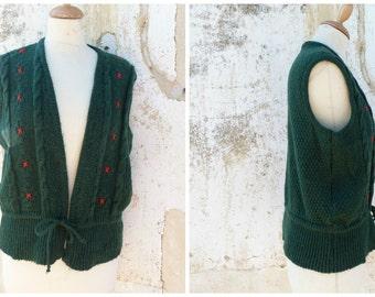 Vintage 1970/70s Tyrol trachten Folk  knitted vest embroidered cardigan dirndl size M/L