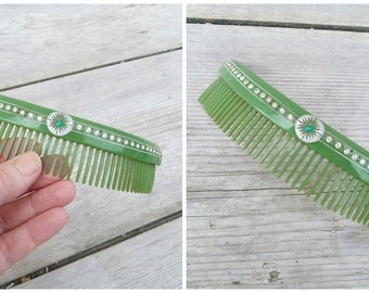 Vintage Antique  Art deco 1920 French green celluloid rhinestones & mini nails large  hair comb /decorative comb/Diadema