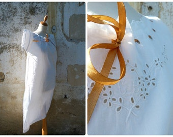 Vintage Antique old French Edwardian white cotton dress underdress with handmade floral embroiderys & ribbon size S/M