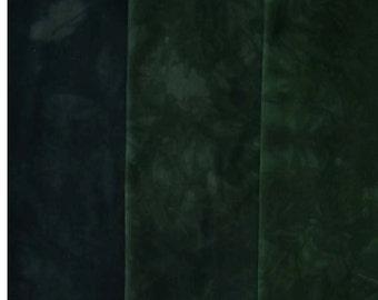 Darkest GREEN to Black - hand dyed Fabric - 3 pc Fat Quarter Gradation Bundle - Tuscan Rose MGBK864