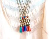 Long Boho Tassel Necklace, Bohemian Tassel Pendant, Colorful Tassel Necklaces, Girlfriend Gift, Gift For Woman, Gift For Her