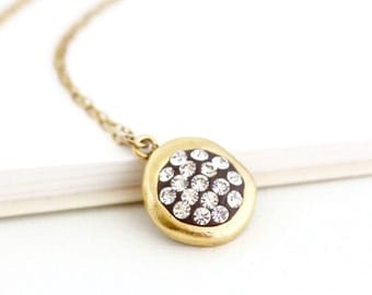 Crystal Pendant, Gold Crystal Necklace, Elegant Necklace, Evening Necklace, Sweet Pendant, Crystal Jewelry, Gift For Wife