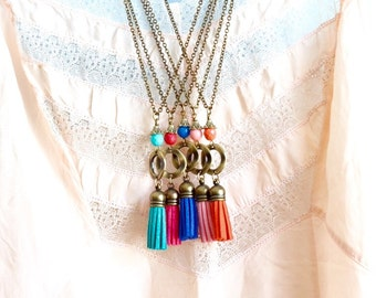 Long Boho Tassel Necklace - Bohemian Tassel Pendant - Colorful Tassel Necklaces - Girlfriend Gift - Gift For Woman - Gift For Her