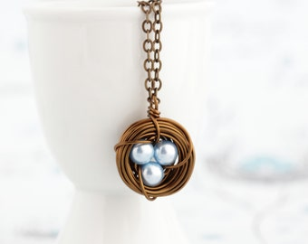 Bird Nest Pendant, Mothers Gift, Rustic Jewelry, Push Present, For Mom, Wire Nest, Pearl Eggs, Nest Necklace, Family Necklace, Nurture