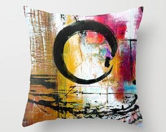 "Enso Pillow, Zen Circle Pillow, Enso Painting, Art ""Enso Abstraction No. mm15"" Original Zen Circle painting by Kathy Morton Stanion  EBSQ"
