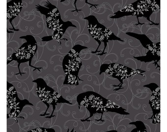 NEW from Henry Glass, Spellbound, Black Birds on Scoll on grey,  yard