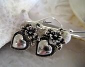 Frida Khalo Milagros Earrings-Romantic Love Sterling silver Heart Earrings-Floral earrings-heart flowers Earrings-Mexican Folk-Boho earrings