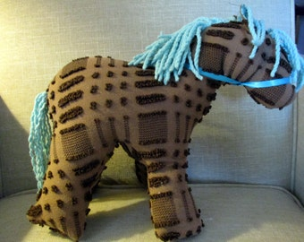 Pony/ horse stuffed animal made from Vintage Chenille bedspread