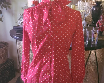 Vintage 1940s style Blouse red polka dot bow Swing PinUp Rockabilly S M 40s