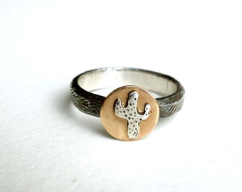 Mixed Metal Cactus ring in Sterling Silver with 14k Gold Filled Accent