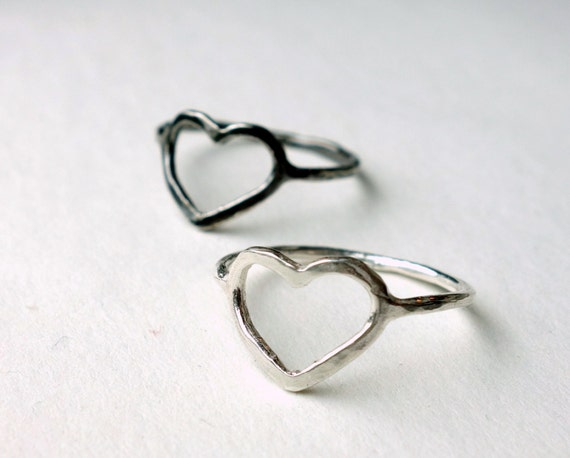 Open Hammered Heart Ring in Sterling Silver