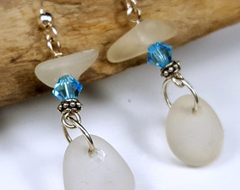 Sterling Silver White Sea Glass Earrings Sea Glass Jewelry E-162