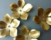 4 Large Brass Flower Stackable Finding Component