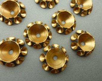 6 Brass Rhinestone Settings - Round