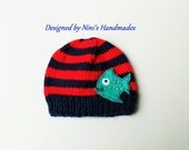 Knit Navy and Red striped FISH inspired Hat,  Made in the USA, boys fish hat, Newborn photography, kids sea life hats,  boys clothing