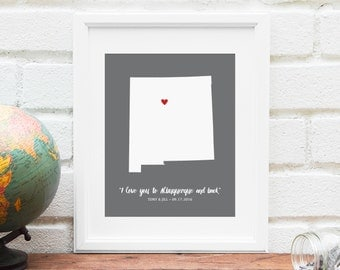Personalized New Mexico Map, Wedding Gift, New Mexico State Map Gift, New Mexico Engagement Gift, Gift for Bride -  Art Print