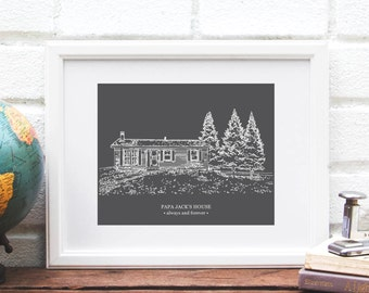 Gift for Dad, Custom Home Illustration, Personalized House Portrait, Gift for Grandpa or Grandfather -  Art Print of My Home