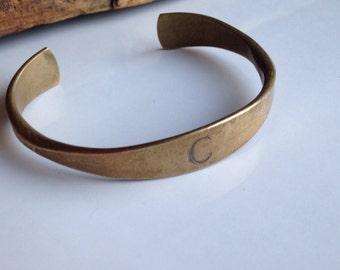 Brass Cuff, Vintage Cuff, Vintage Bracelet, Monogram 'C', C Initial Bracelet, Brass Bracelet, Base Metal