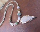 Long Bohemian Arrowhead Necklace - Gemstones - Gold Pink Green - Gypsy Good Vibes Jewelry - Natural Earthy Hippy Style - Free Spirit Hippie