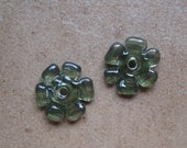 Lampwork Beads - SueBeads - Disc Beads - Olive Green Cut Disc Flower Bead Pair - Handmade Lampwork Beads - SRA M67