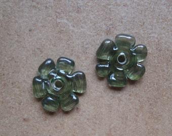 Lampwork Beads - SueBeads - Disc Beads - Olive Green Cut Disc Flower Bead Pair - Handmade Lampwork Beads - SRA M67