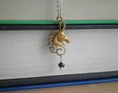 Unicorn Charm Necklace - Boho Chic Unicorn Wanderlust Pendant - Mixed Metal Layering Jewelry - Magic Golden Unicorn Charm Sweet Gift for Her