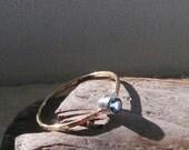 London Blue Topaz Ring, Gold Filled Ring, Stacking Ring, Minimalist Ring, Semi Precious Stone Ring, 3mm Gemstone