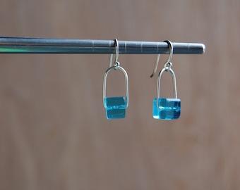 Bright Blue Sterling Dangle Earrings