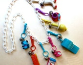 Vintage 80's Girly Charm Necklace -  Plastic Bell Clips Bling - Collectible Pop Culture Color - 8 Charms White Link Chain Fashion Jewelry