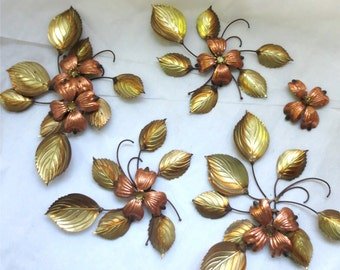 Dogwood Wall Art  Mid Century Metal Brass  and Copper Wall Hangings - Dogwood Flower Bouquets   Hand Crafted Floral Sculptures Vintage 1960s