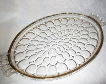 Oval Glass Dresser Tray with Thumb Print Design and Gilded Rim - Vintage 1960's - Vanity Tray - Perfume Organizer