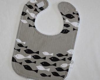 Tan Fish Fabric and Chenille Bib