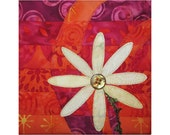 Small Art Quilt, Floral Wall Hanging, Daisy Flower Fiber Art