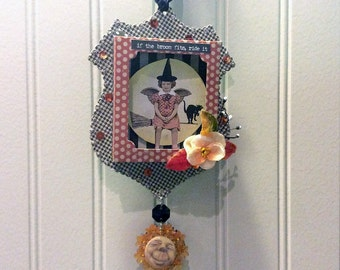little witch Halloween shadowbox - NO431