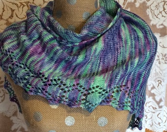 Hand-knitted Wool and Bamboo Scarf or Wrap Purple and Green Jewel Tones