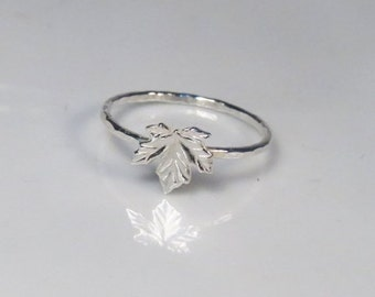 ON SALE - Silver maple leaf ring, Thin stacking ring, Maple ring, Canadian jewelry
