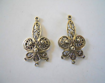 Pair Sterling Filigree 3 Loop Chandelier Earring Findings