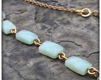 Amazonite and 14k gold fill Necklace