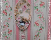 Spring Nest Signature Pink Spoon with Hand Painted Roses, Soup Spoon with Acrylic Drop, Collectible Home Decor, Display, ECS