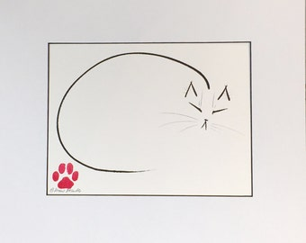 Nap Cat - Original Minimalist Cat Drawing by CatmanDrew Drew Strouble