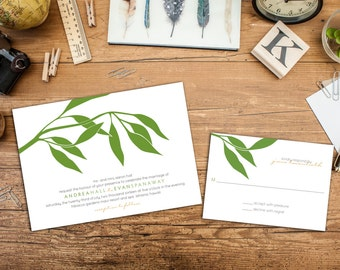Eucalyptus Wedding Invitation Set, Classy Wedding Invites, Elegant Branch invitations, Wedding response cards, Thank you cards, Leaf invite