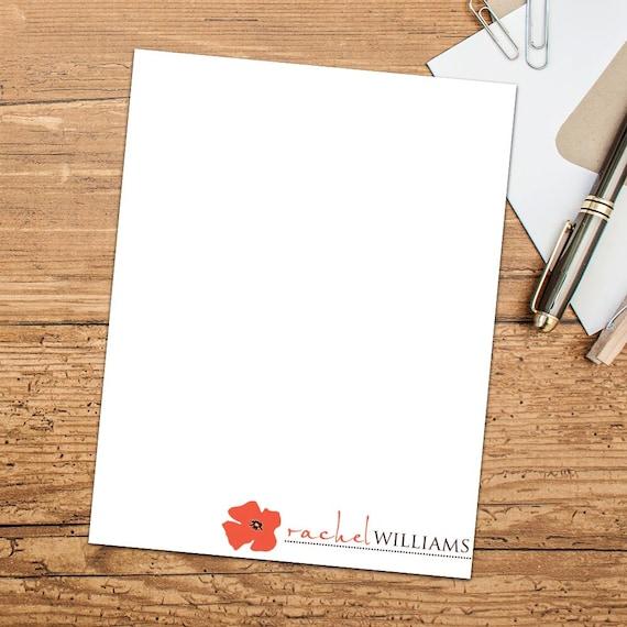 Pretty Poppy Personalized Flat Notecards