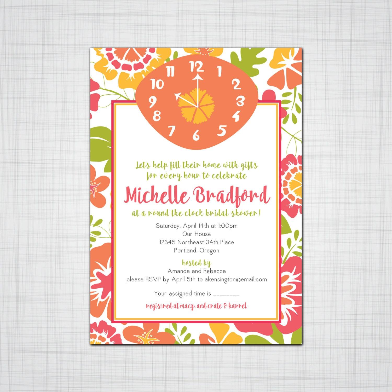 Around the Clock Bridal Shower Invitation Fun funky Bridal Shower – Around the Clock Wedding Shower Invitations